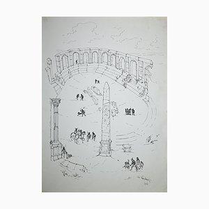 Roman Forum mit Figuren, Original Zeichnung von Giulio Zek, 1961