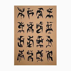 Aguafuerte original, 1974, Leo Guida, Signals