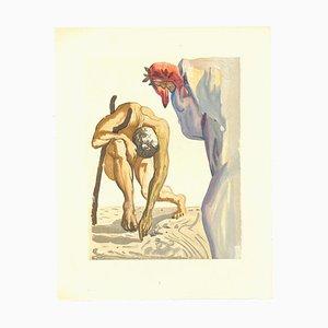 Salvador Dalí, The Climbing, Original Holzschnitt, 1963