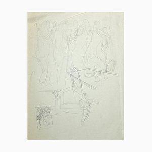 Unknown, the Dance, Original Bleistiftzeichnung, Frühes 20. Jahrhundert