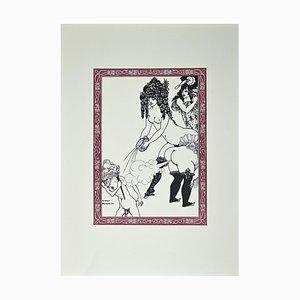 After Aubrey Beardsley, Malheureux tu te Ronge, Original Lithograph, 1970