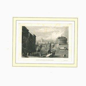 Lithographie Originale de Castel Sant'angelo, 19ème Siècle