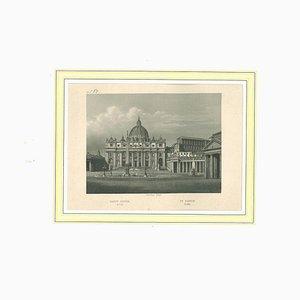 Litografia originale, sconosciuto, su San Pietro, Roma, XIX secolo