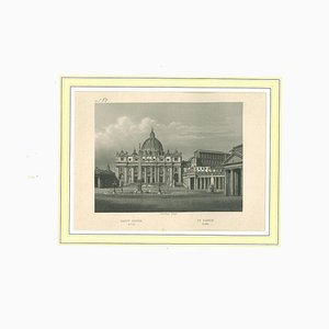 Unknown, Ancient View of Saint Peter (Rome), Original Lithograph on Paper, 19th Century