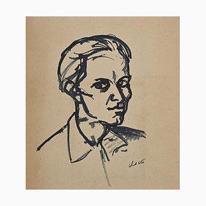 Desconocido, retrato, dibujo original con marcador negro, años 50