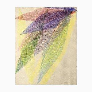 Composition Abstraite, Lignes, Couleurs, Tempera sur Papier, 1983