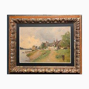 Impressionismo Village at the Edge of River, Francia, 1880