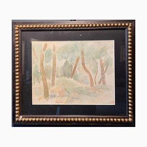 Forêt de Sous-bois, Arbres, Verdure Aquarelle, 1929