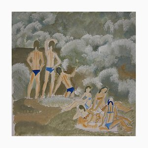 Bathers Water River, Sommer, Russische Gouache, 1976