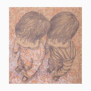 Andrea Pescio, Study for 2 Children, Graphite and Acrylic Painting, 2011