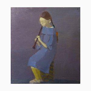 Igor Smekalov, Portrait with Flute, Contemporary Painting, Blue Oil Portrait, 2007