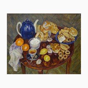 Maya Kopitzeva, Tea Time, Lunch, Breakfast, Lunchroom 1994, Oil