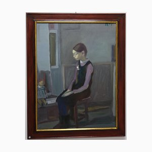 Igor Smekalov, Little Girl and Doll, Blue Figurative, Orenburg 1965, Oil Painting