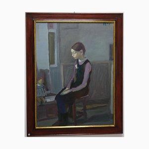 Kleines Mädchen und Puppe, Blaue Figurative, Orenburg 1965, Ölgemälde