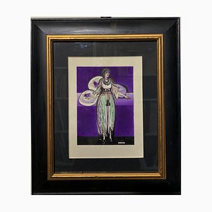 Odalisque, Arabe, Femmes, Harem, 1920, Violet et Noir Aquarelle