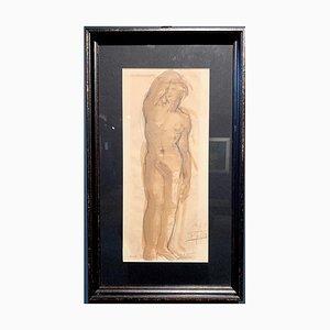 Unknown, Male Nude Sepia, Watercolor, 1943