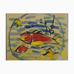 Giulio Da Milano, Fish Watercolor Painting, 1937