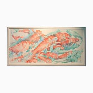 Koi Carp Red, Green & Blue, Stylo Bille sur Canvas, 2016