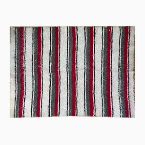 Romanian Wool Fluffy Rug with Stripes