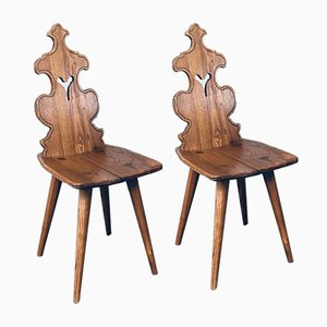 Mid-Century Brutalist Style Tiroler Chair Set, Austria, 1960s, Set of 2