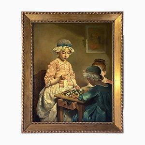 Ciro Morrone, Lottery Games, Oil on Canvas