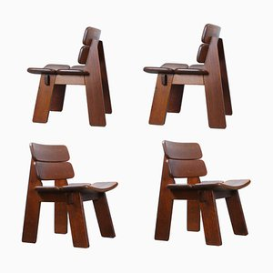 Heavy Oak Dining Chairs in the Style of Charlotte Perriand, 1960s, Set of 4,