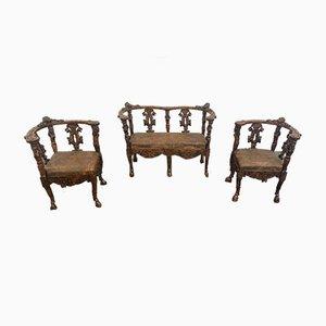 Late Neo Renaissance Living Room Set, Set of 3