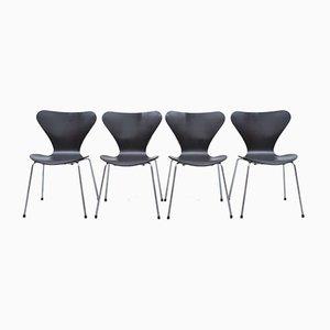 3107 Chairs in Black by Arne Jacobsen for Fritz Hansen, Set of 4