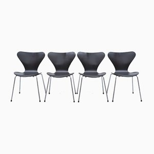 Chaises 3107 Noires par Arne Jacobsen pour Fritz Hansen, Set de 4
