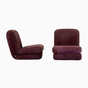 Adjustable Aubergine Armchairs in Foam and Velvet, France, 1970s, Set of 2