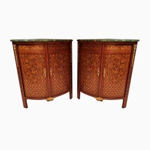 Napoleon III Style Corner Cabinets with Marquetry, Set of 2