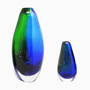 Vasen von Flavio Poli aus Murano Glas von Seguso, Italien, 1970er, 2er Set