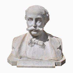 Buste en Marbre, Gentleman avec Moustache, 19ème Siècle