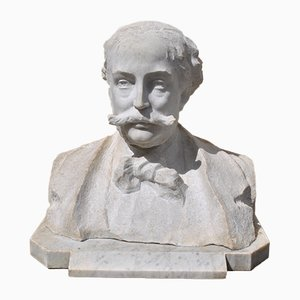 Marble Bust, Gentleman with Moustache, 19th Century