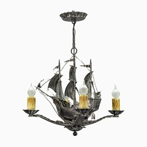 Vintage Spanish Wrought Iron Ship-Shaped Sailing Gallon Chandelier