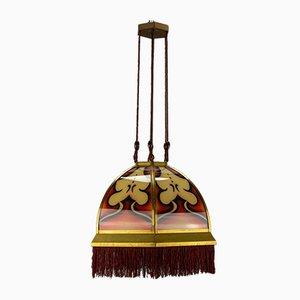 Art Deco Amsterdam School Glass and Brass Pendant Light