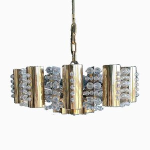 Brass Chandelier with Crystal Glass Prisms from Palwa, 1960s