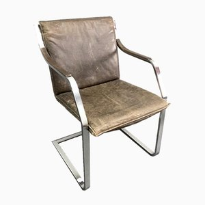 Pattino Cantilever Conference Armchair in Leather & Stainless Steel by Rudolf Glatzel for Walter Knoll / Dreipunkt Art Collection, Germany, 1970s