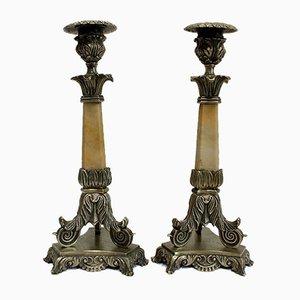 Restaurationszeit Bronze und Marmor Kerzenständer, 19. Jahrhundert, 2er Set