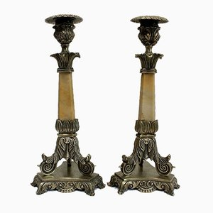 Restoration Period Bronze and Marble Candlesticks, 19th Century, Set of 2