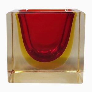 Rechteckige Schale in Rot & Gelb oder Catch-All von Flavio Poli für Seguso, 1970er