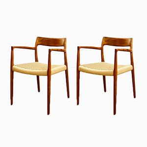 Mid-Century Danish Model 57 Chairs in Teak by Niels O Møller for J L Møllers Møbelfabrik, 1950s, Set of 2