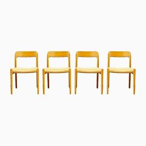 Mid-Century Danish Model 57 Chairs in Oak by Niels O Møller for J L Møllers Møbelfabrik, 1950s, Set of 4