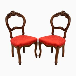 Vintage Louis Philippe Armchairs in Walnut, Italy, 19th Century, Set of 2
