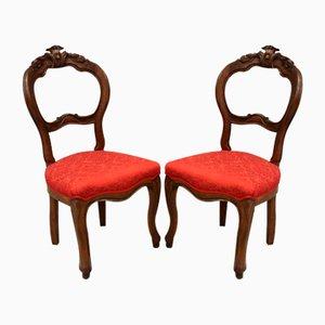 Vintage Louis Philippe Armlehnstühle aus Walnuss, Italien, 19. Jahrhundert, 2er Set