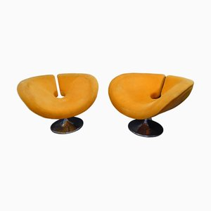 French Space Age Steel Armchairs in Orange, 1960s, Set of 2