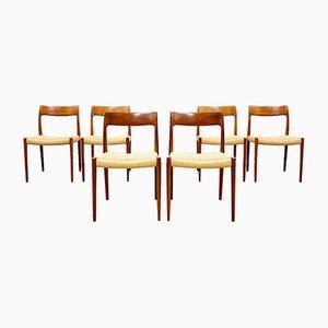 Mid-Century Danish Model 77 Chairs in Teak by Niels O Møller for J L Møllers Møbelfabrik, 1950s, Set of 6