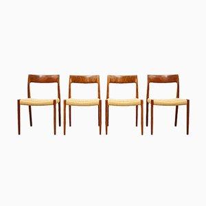 Mid-Century Danish Model 77 Chairs in Teak by Niels O Møller for J L Møllers Møbelfabrik, 1950s, Set of 4