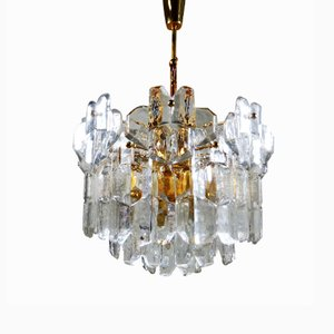 Glass and Brass Chandelier from Kalmar
