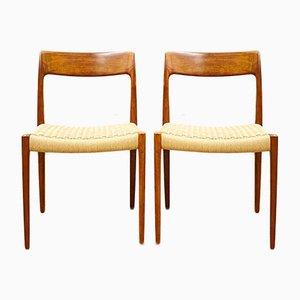 Dänische Mid-Century Modell 77 Stühle aus Teak von Niels O Møller für JL Møllers Møbelfabrik, 1950er, 2er Set